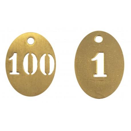 Lots de 100 Numéros de clés ovales en laiton de 1 à 100